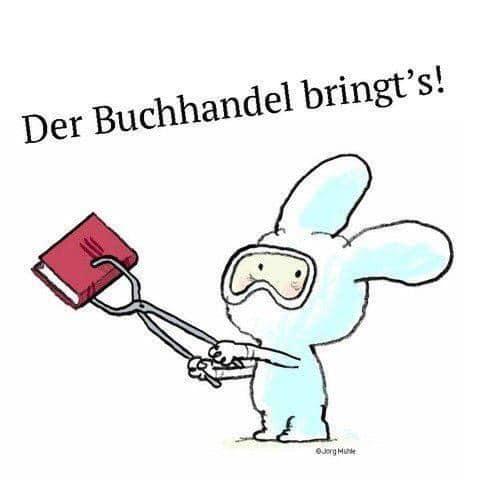 Geniale Zeichung von Jörg Mühle (Moritz Verlag) für den deutschen Buchhandel